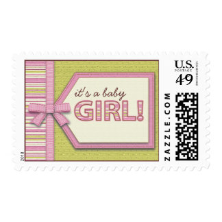 Pink Green It's a Girl Tag Bow Ribbon Baby Postag Stamp