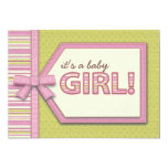 Pink Green It's a Girl Tag Bow Ribbon Baby Shower Invite