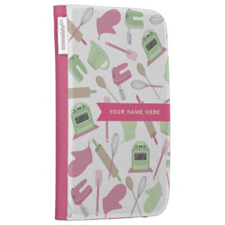 Pink Green Kitchen Theme Personalized Kindle Case