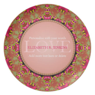 Pink & Green Lace Love Personalized Gift Plate