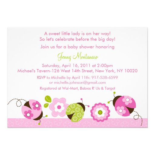 "Pink Green Ladybug Flower Baby Shower Invitations 5"" X 7"" Invitation Card"