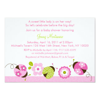 Pink Green Ladybug Flower Baby Shower Invitations