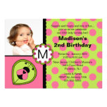 Pink & Green Ladybug Photo Birthday Invitation