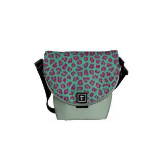 Pink & Green Leopard Print Messenger Bag