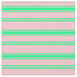 [ Thumbnail: Pink & Green Lined Pattern Fabric ]