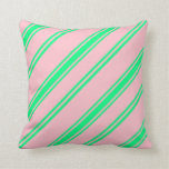 [ Thumbnail: Pink & Green Lined Pattern Throw Pillow ]