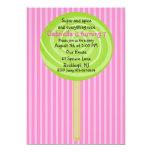 Pink & Green Lollipop Girls Birthday Invitation