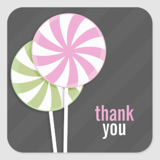 Pink & Green Lollipop Thank You Stickers