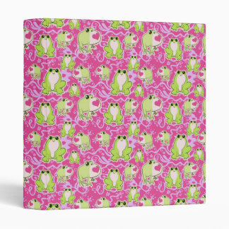 Pink Green Love Frogs 3 Ring Binders