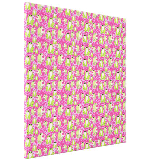 Pink Green Love Frogs Stretched Canvas Print