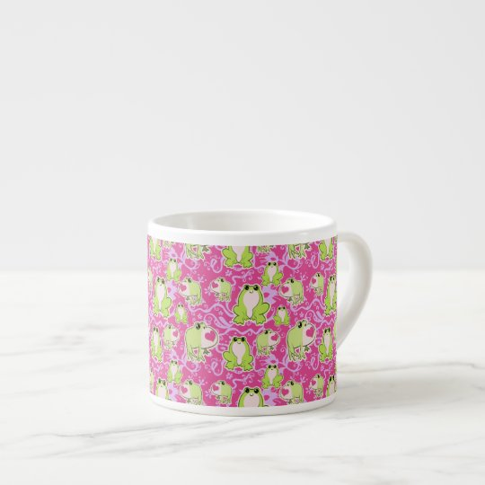 Pink Green Love Frogs Espresso Cup