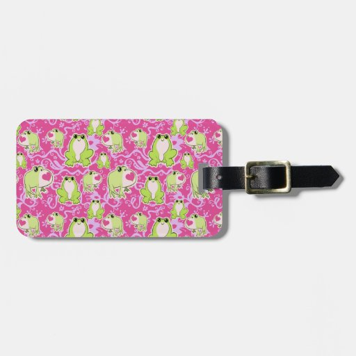 Pink Green Love Frogs Luggage Tag