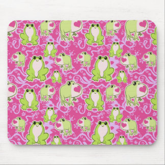 Pink Green Love Frogs Mouse Pad