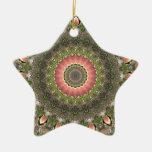 Pink & Green Mandala Design Christmas Ornament