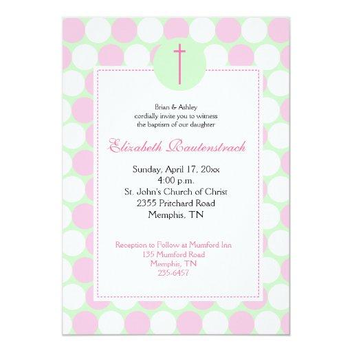Pink / Green Modern Dot Baptism Invitation