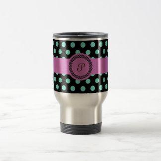 Pink green monogram polkadot black travel mug