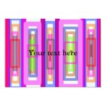 "Pink green multicolored rectangles 5"" x 7"" invitation card"