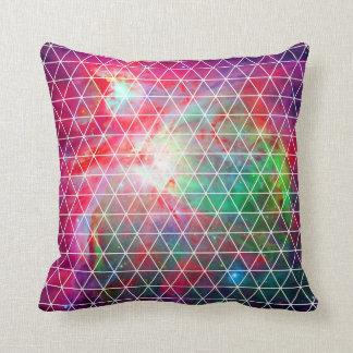Pink Green Nebula Net Pattern Throw Pillows