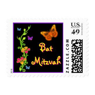 Pink Green Neon Butterfly Bat Mitzvah Postage 2