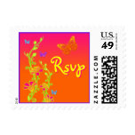 Pink, Green Neon Butterfly Floral RSVP Postage