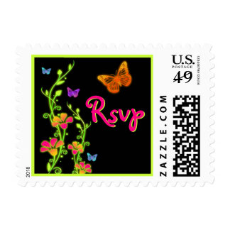 Pink Green Neon Butterfly Floral RSVP Postage