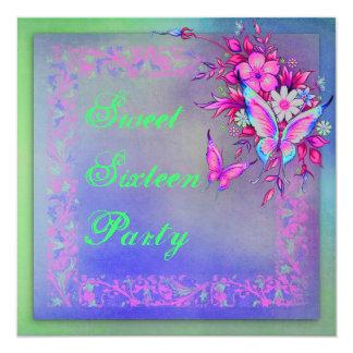 Pink Green Neon Grunge Butterfly Sweet 16 Birthday Card