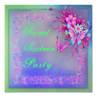Pink Green Neon Grunge Butterfly Sweet 16 Birthday 5.25x5.25 Square Paper Invitation Card