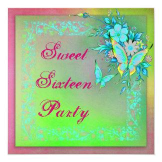 Pink Green Neon Grunge Butterfly Sweet 16 Birthday Invitation