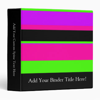Pink/Green Neon Stripes Binder