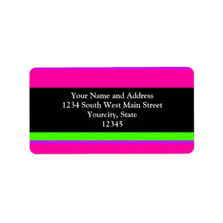 Pink/Green Neon Stripes Label
