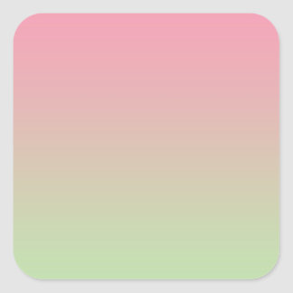 Pink & Green Ombre Square Sticker