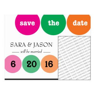 Pink, Green, Orange Circles Save the Date Postcard
