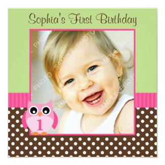 Pink Green Owl Polka Dot 1st Birthday Girl Photo Card
