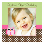 Pink Green Owl Polka Dot 1st Birthday Girl Photo Personalized Announcements