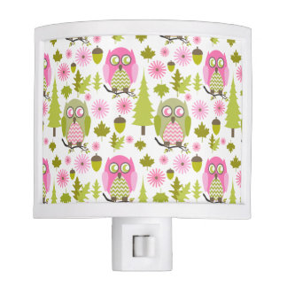 Pink + Green Owls Night Light