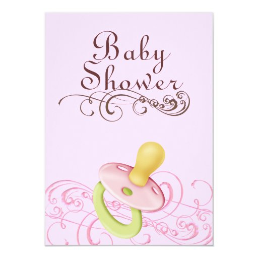 Pink/Green Pacifier & Swirl Baby Shower Invitation