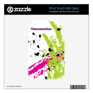 Pink Green Paint Splash Ink MP3 Player Skin Decals For iPod Touch 4G
