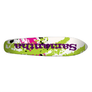 Pink Green Paint Splash Ink Old School Skateboard