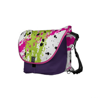 Pink Green Paint Splash Ink Splotch Messenger Bag