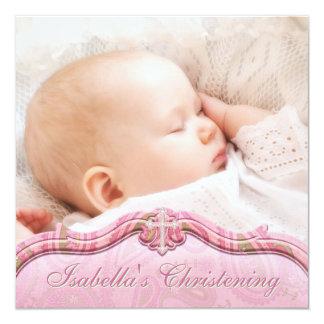 Pink Green Paisley Baby Girl Photo Christening Card
