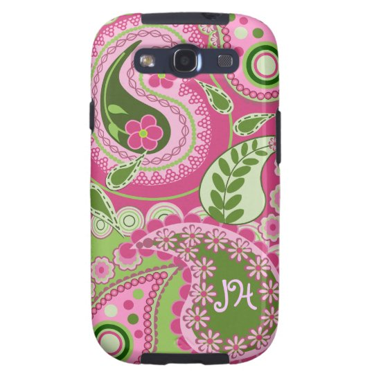 Pink & green Paisley case with Monogram
