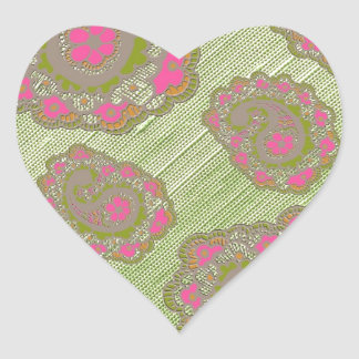 Pink green paisley floral pattern sticker
