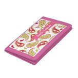 Pink & Green Paisley Personalized Wallet