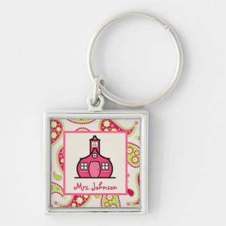 Pink Green Paisley Schoolhouse Teacher Keychain