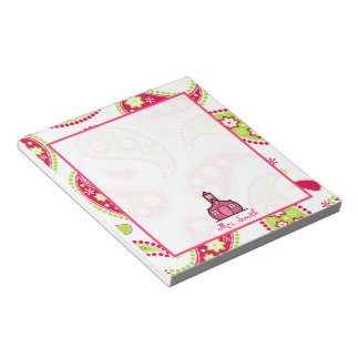Pink & Green Paisley Teacher Notepad