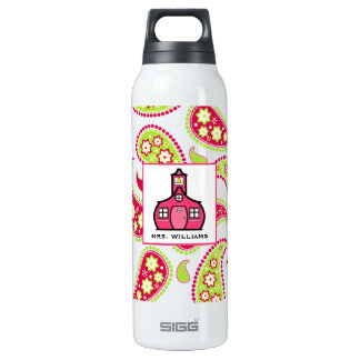 Pink & Green Paisley Teacher SIGG Thermo 0.5L Insulated Bottle