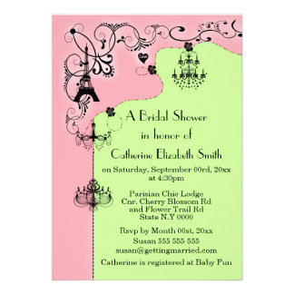 Pink green Paris bridal shower Personalized Announcement