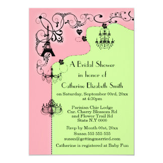 Pink green Paris bridal shower 5x7 Paper Invitation Card