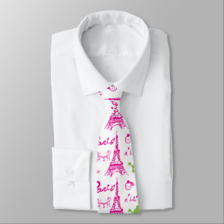 Pink green Paris Love Neck Tie