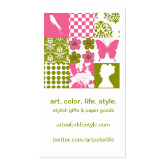 Pink & Green Patchwork Business Card Template
